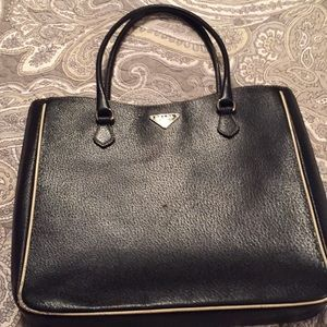 Prada Milano, black, pebble leather tote
